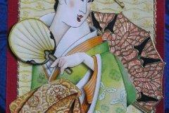 Gejsza w zielonym kimonie