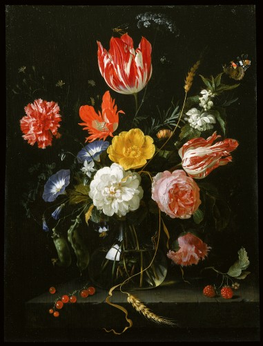 Glass Vase with Flowers on a Stone Ledge